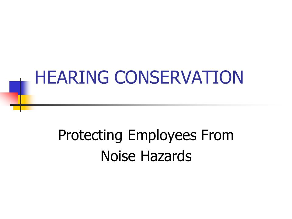HEARING CONSERVATION Protecting Employees From Noise Hazards