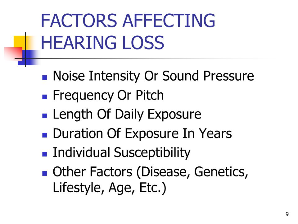 9 FACTORS AFFECTING HEARING LOSS Noise Intensity Or Sound Pressure Frequency Or Pitch Length Of Daily Exposure Duration Of Exposure In Years Individua