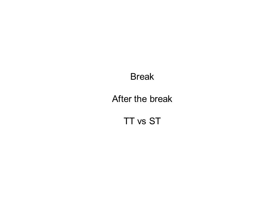 Break After the break TT vs ST