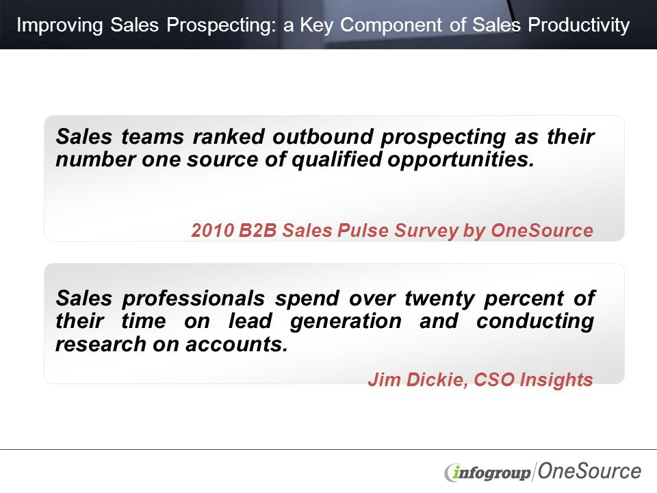 Improving Sales Prospecting: a Key Component of Sales Productivity Sales teams ranked outbound prospecting as their number one source of qualified opportunities.