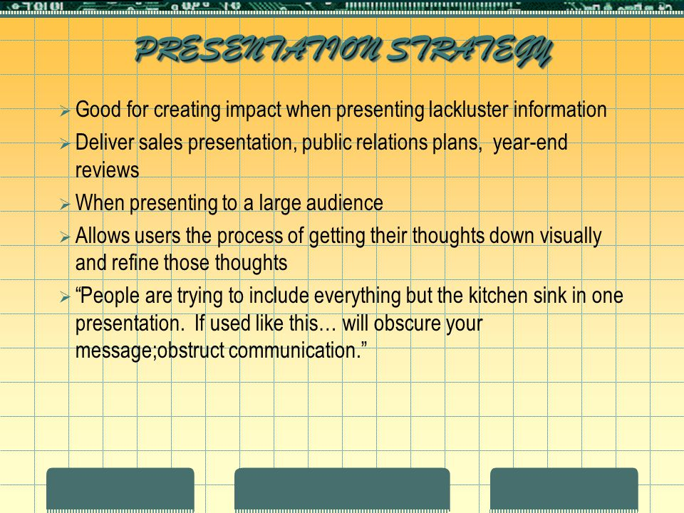 PRESENTATION STRATEGY  Good for creating impact when presenting lackluster information  Deliver sales presentation, public relations plans, year-end reviews  When presenting to a large audience  Allows users the process of getting their thoughts down visually and refine those thoughts  People are trying to include everything but the kitchen sink in one presentation.