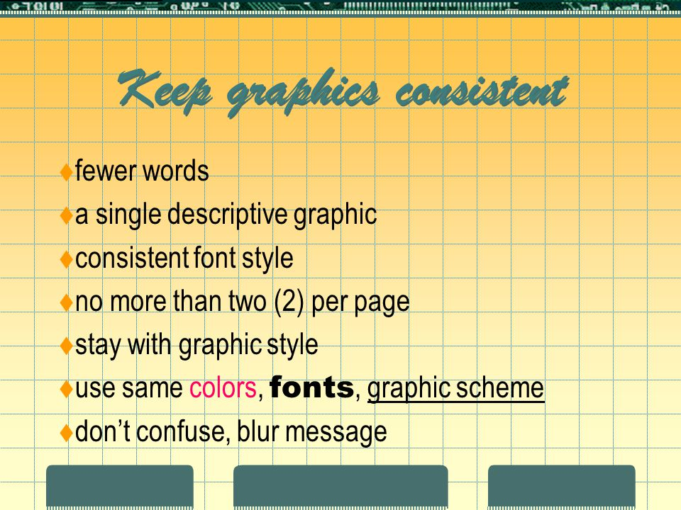 Keep graphics consistent  fewer words  a single descriptive graphic  consistent font style  no more than two (2) per page  stay with graphic style  use same colors, fonts, graphic scheme  don't confuse, blur message