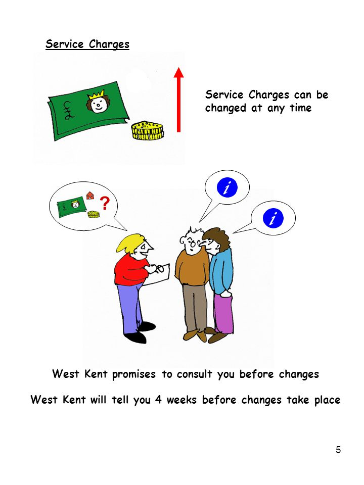 5 Service Charges Service Charges can be changed at any time .