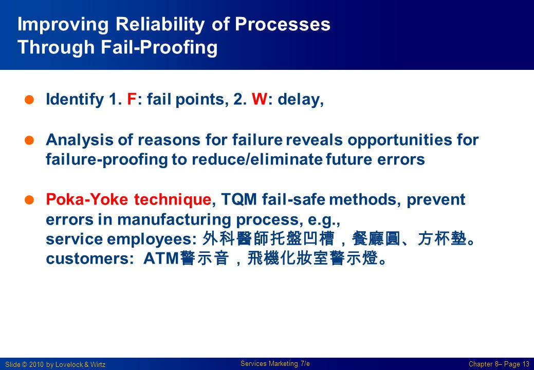 Slide © 2010 by Lovelock & Wirtz Services Marketing 7/e Chapter 8– Page 13 Improving Reliability of Processes Through Fail-Proofing  Identify 1. F: f