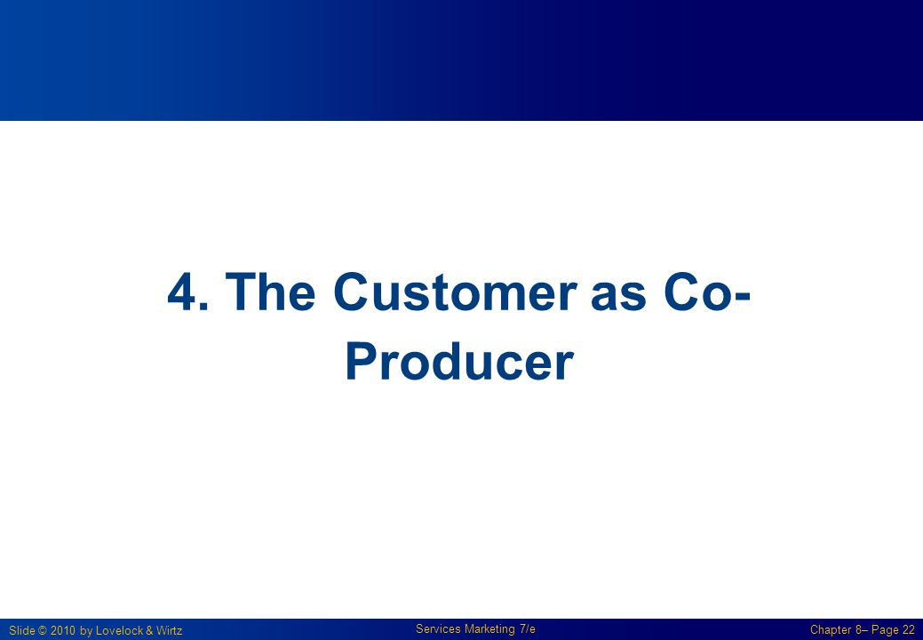Slide © 2010 by Lovelock & Wirtz Services Marketing 7/e Chapter 8– Page 22 4. The Customer as Co- Producer