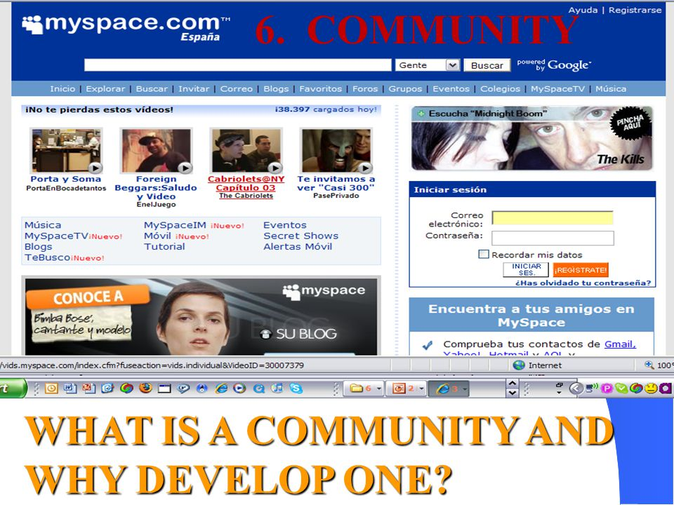 WHAT IS A COMMUNITY AND WHY DEVELOP ONE? 6. COMMUNITY