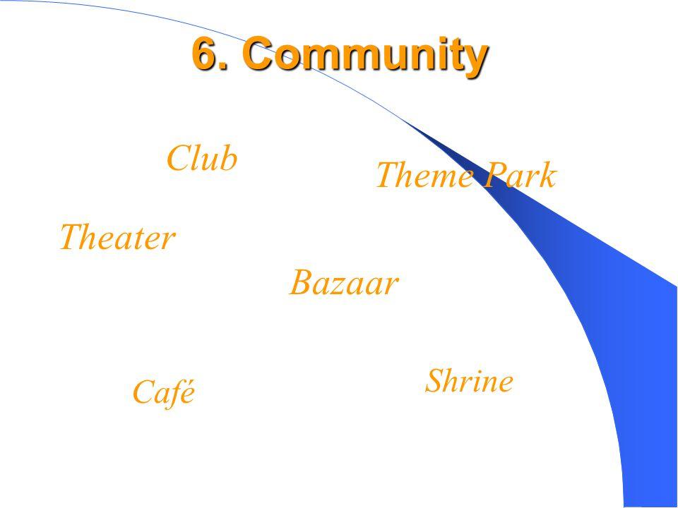 6. Community Café Bazaar Theme Park Club Shrine Theater