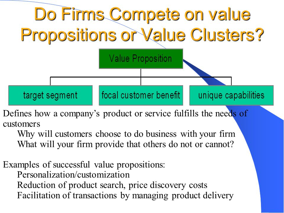 Do Firms Compete on value Propositions or Value Clusters? Defines how a company's product or service fulfills the needs of customers Why will customer