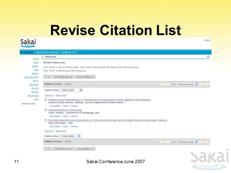 Revise Citation List 11Sakai Conference June 2007