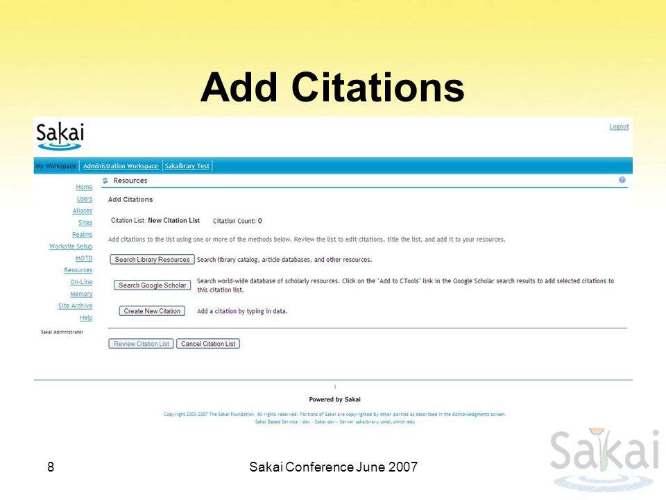 Add Citations 8Sakai Conference June 2007