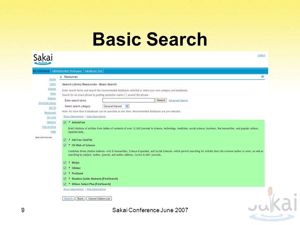 Basic Search 9Sakai Conference June 2007