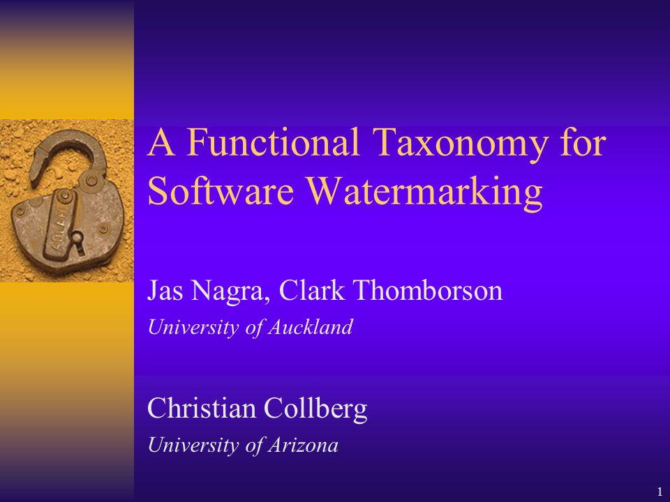 30 January 2002SW WM Taxonomy 2 Why Build a Taxonomy.