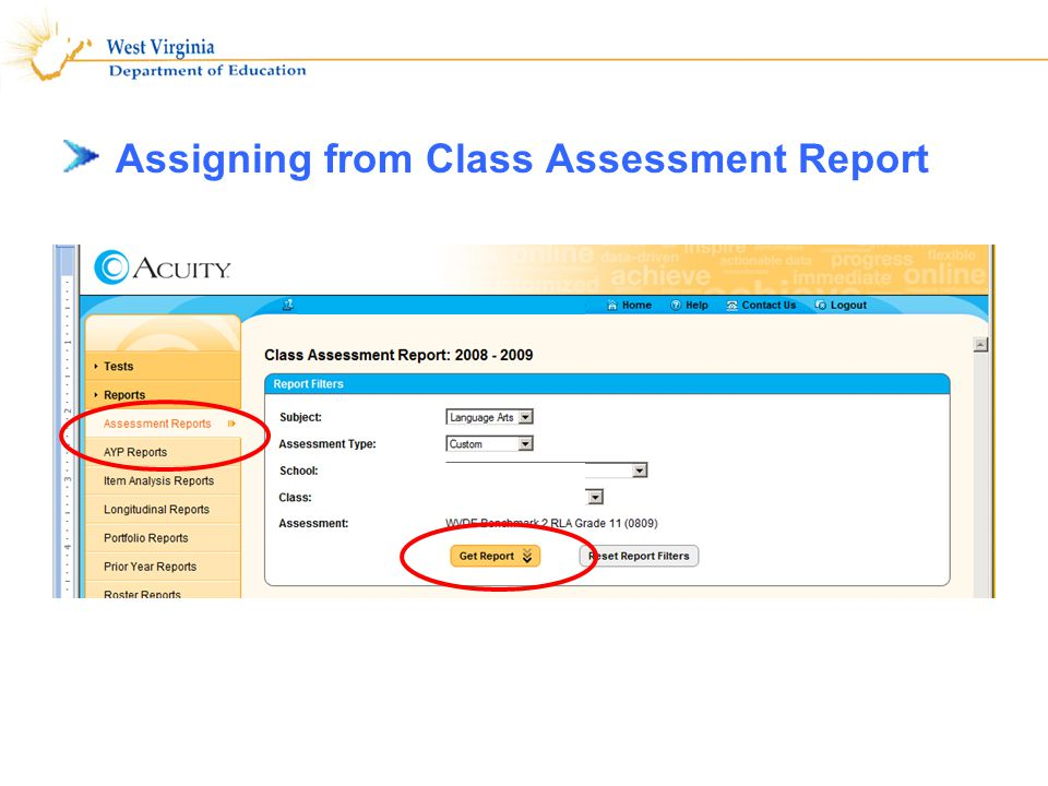 Assigning from Class Assessment Report 4