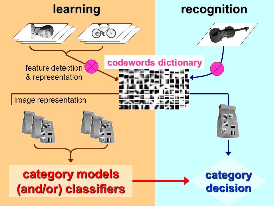 feature detection & representation codewords dictionary image representationRepresentation1. 2. 3.