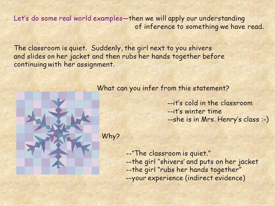 Let's do some real world examples—then we will apply our understanding of inference to something we have read. The classroom is quiet. Suddenly, the g