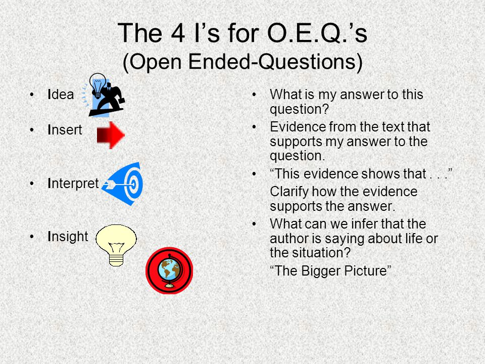 The 4 I's for O.E.Q.'s (Open Ended-Questions) Idea Insert Interpret Insight What is my answer to this question? Evidence from the text that supports m