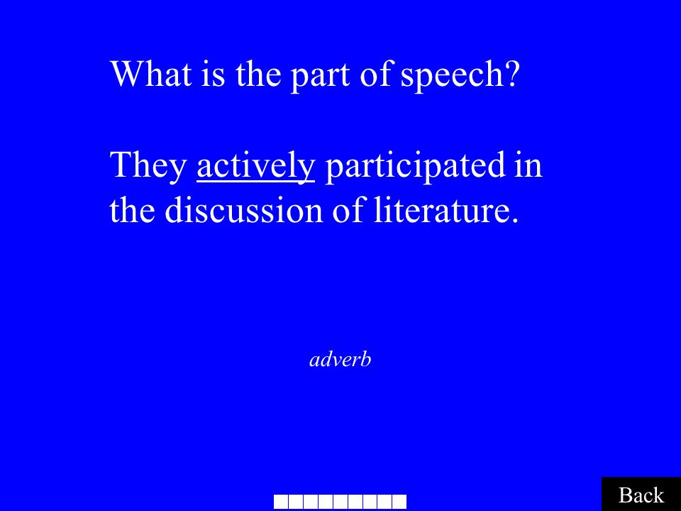 adverb Back What is the part of speech? They actively participated in the discussion of literature.
