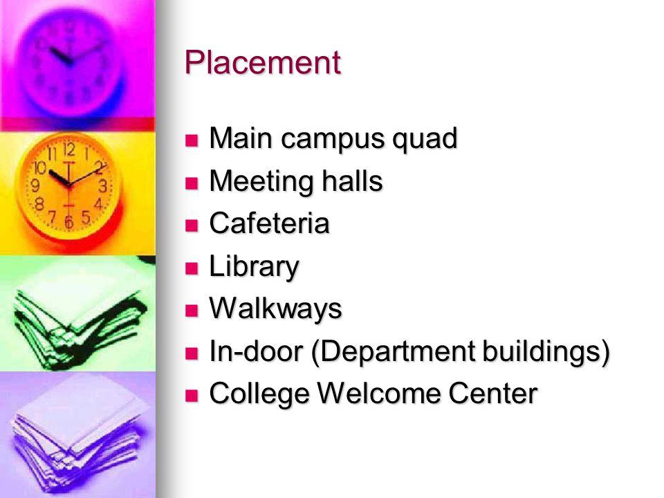 Placement Main campus quad Main campus quad Meeting halls Meeting halls Cafeteria Cafeteria Library Library Walkways Walkways In-door (Department buildings) In-door (Department buildings) College Welcome Center College Welcome Center