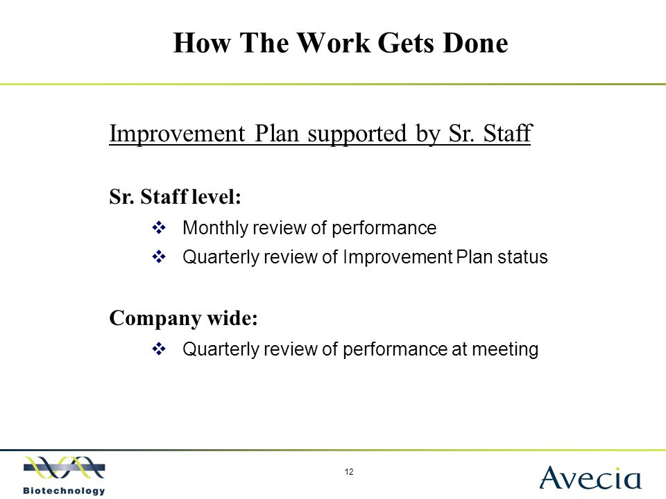 12 How The Work Gets Done Improvement Plan supported by Sr. Staff Sr. Staff level:  Monthly review of performance  Quarterly review of Improvement P