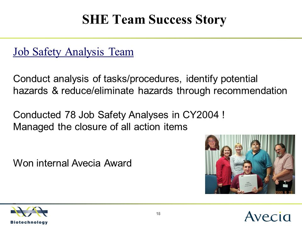 18 SHE Team Success Story Job Safety Analysis Team Conduct analysis of tasks/procedures, identify potential hazards & reduce/eliminate hazards through