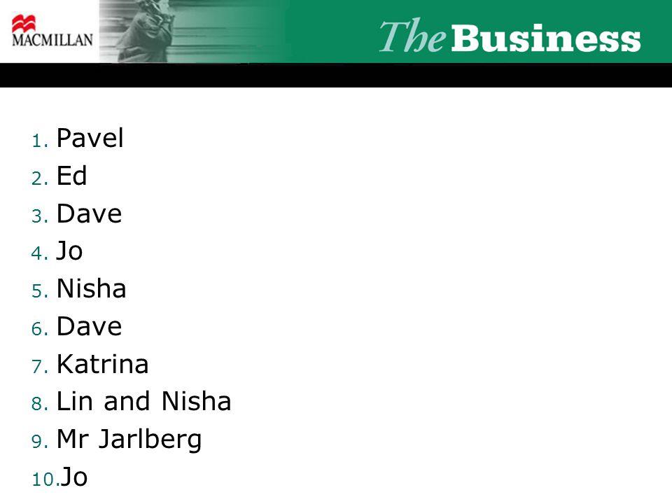 1. Pavel 2. Ed 3. Dave 4. Jo 5. Nisha 6. Dave 7. Katrina 8. Lin and Nisha 9. Mr Jarlberg 10. Jo