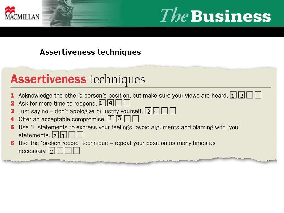 Assertiveness techniques 3 14 2 13 23 2 4 1