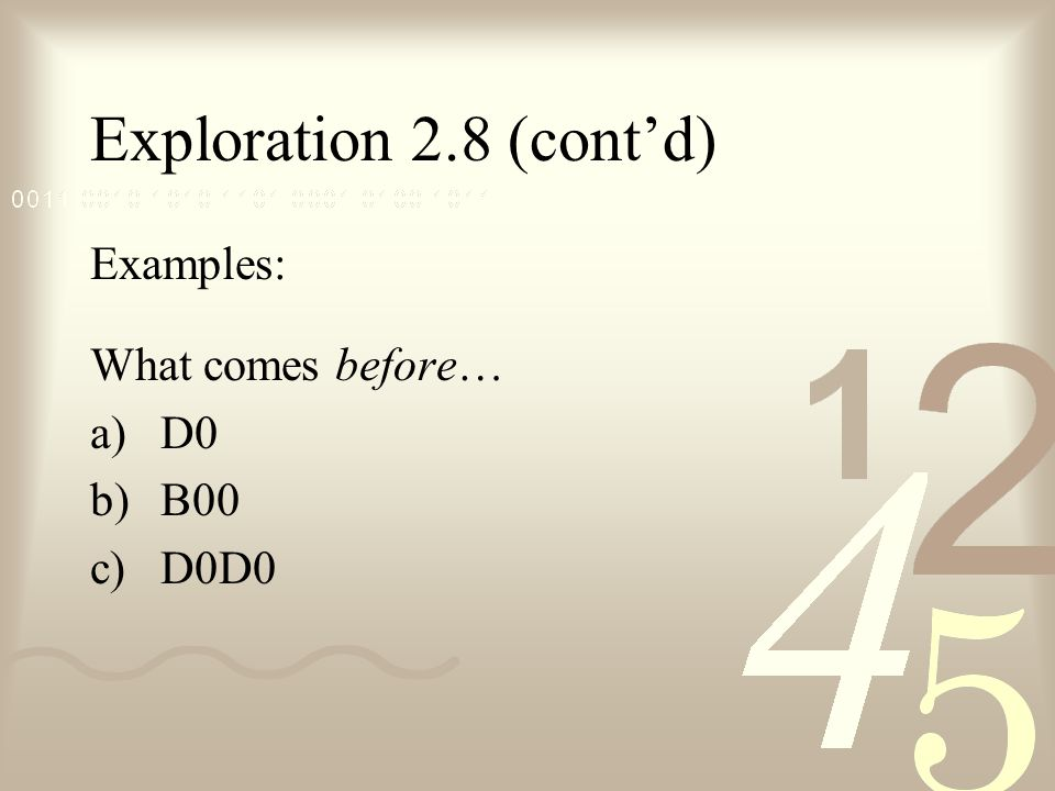 Exploration 2.8 (cont'd) Examples: What comes before… a)D0 b)B00 c)D0D0
