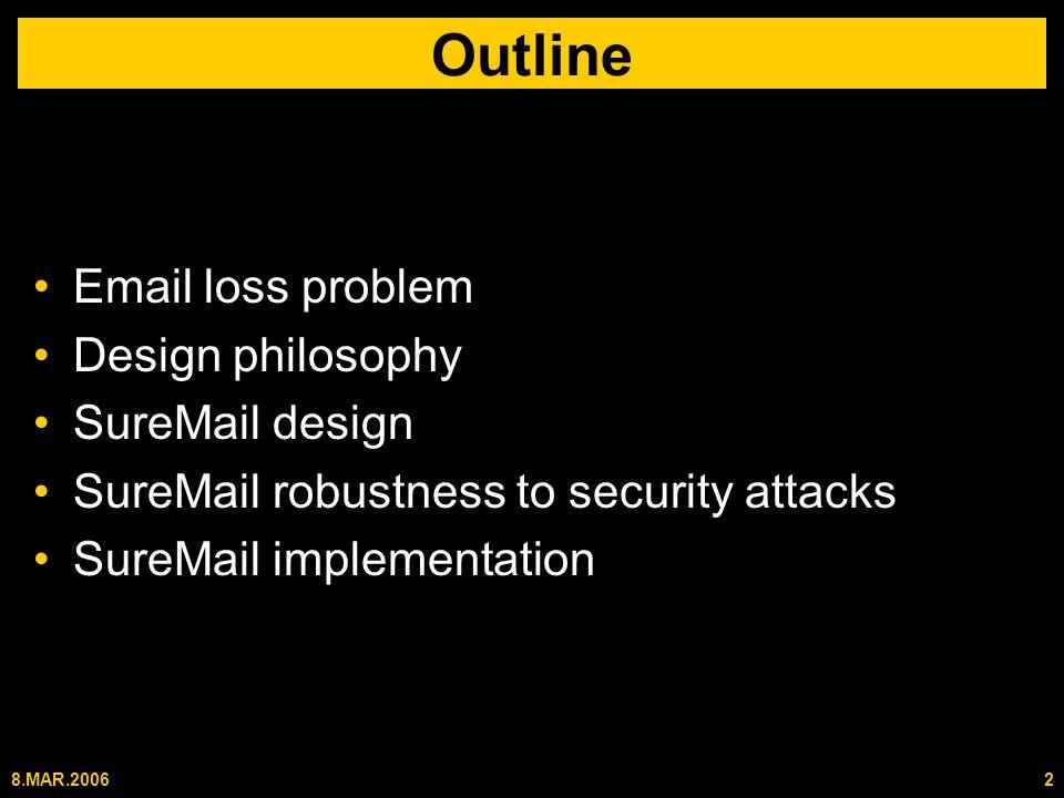 8.MAR.20062 Outline Email loss problem Design philosophy SureMail design SureMail robustness to security attacks SureMail implementation
