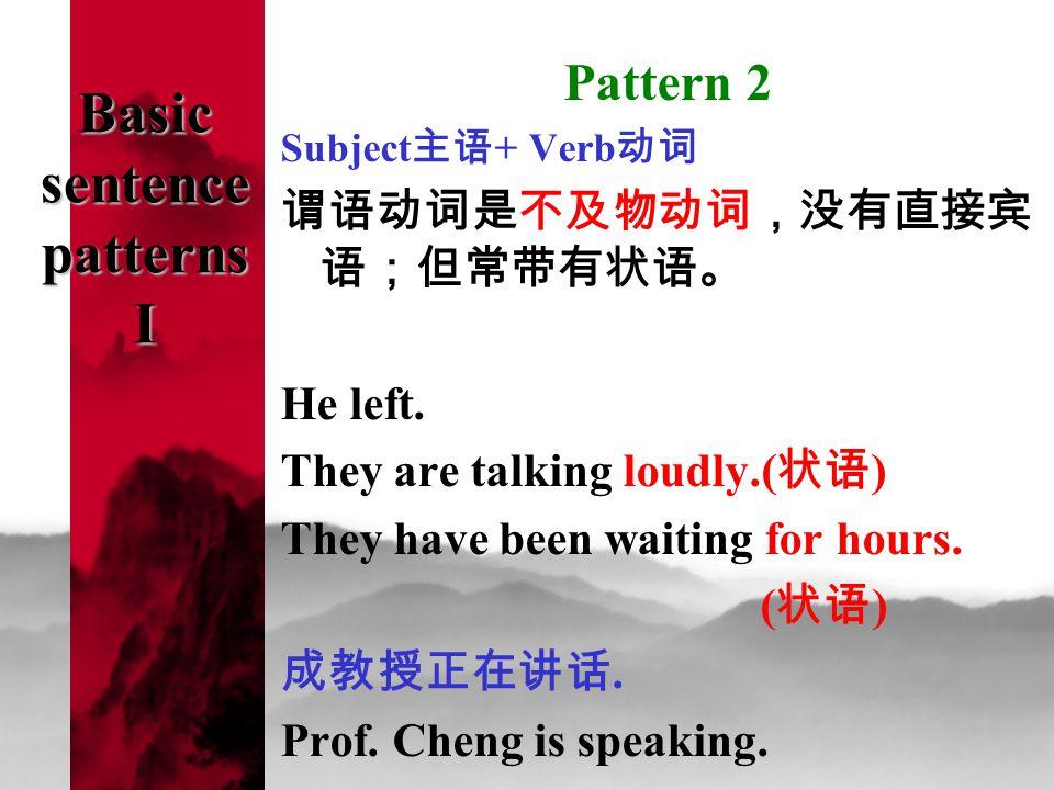 Basic sentence patterns I Pattern 2 Subject 主语 + Verb 动词 谓语动词是不及物动词,没有直接宾 语;但常带有状语。 He left.