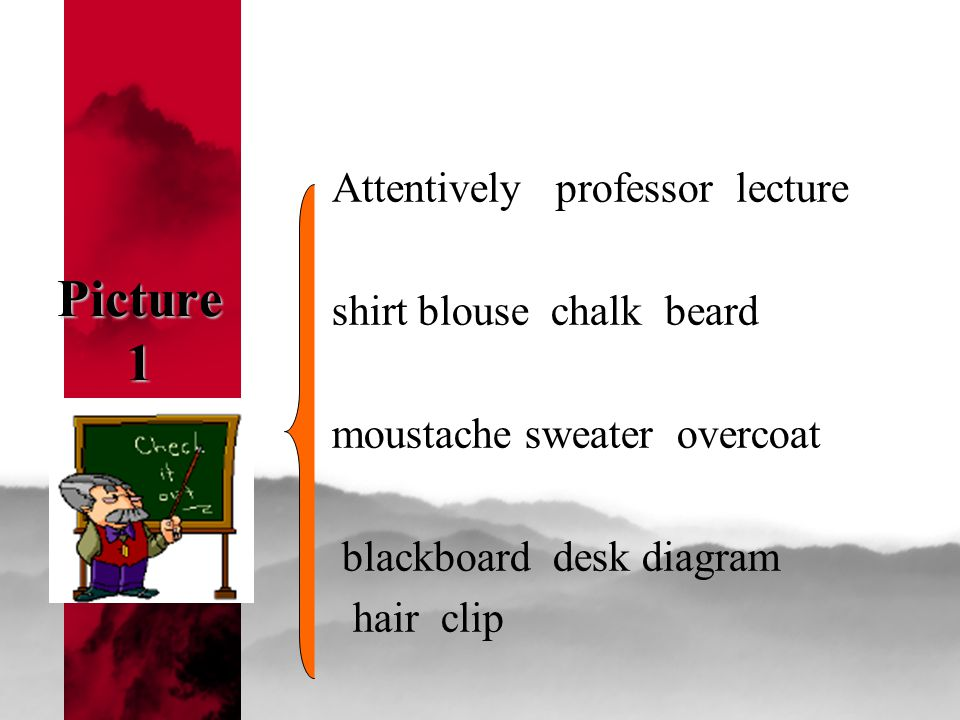 Picture 1 Attentively professor lecture shirt blouse chalk beard moustache sweater overcoat blackboard desk diagram hair clip