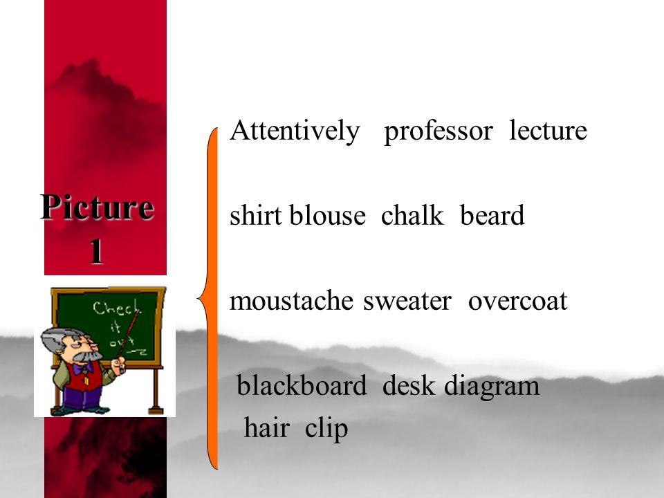 Picture 1 Attentively professor lecture shirt blouse chalk beard moustache sweater overcoat blackboard desk diagram hair clip
