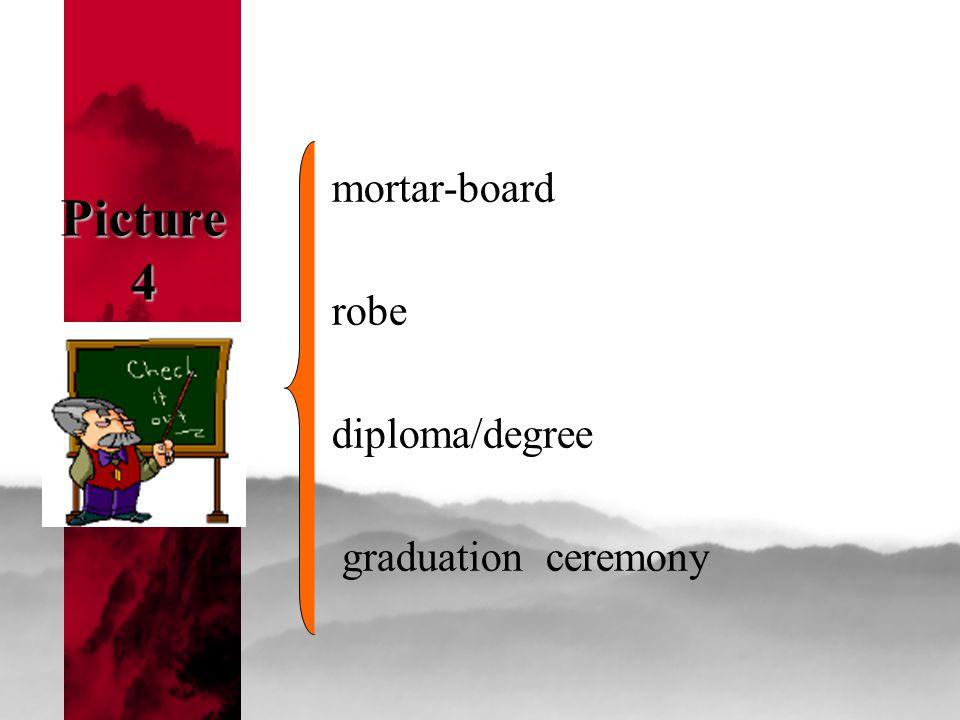Picture 4 mortar-board robe diploma/degree graduation ceremony