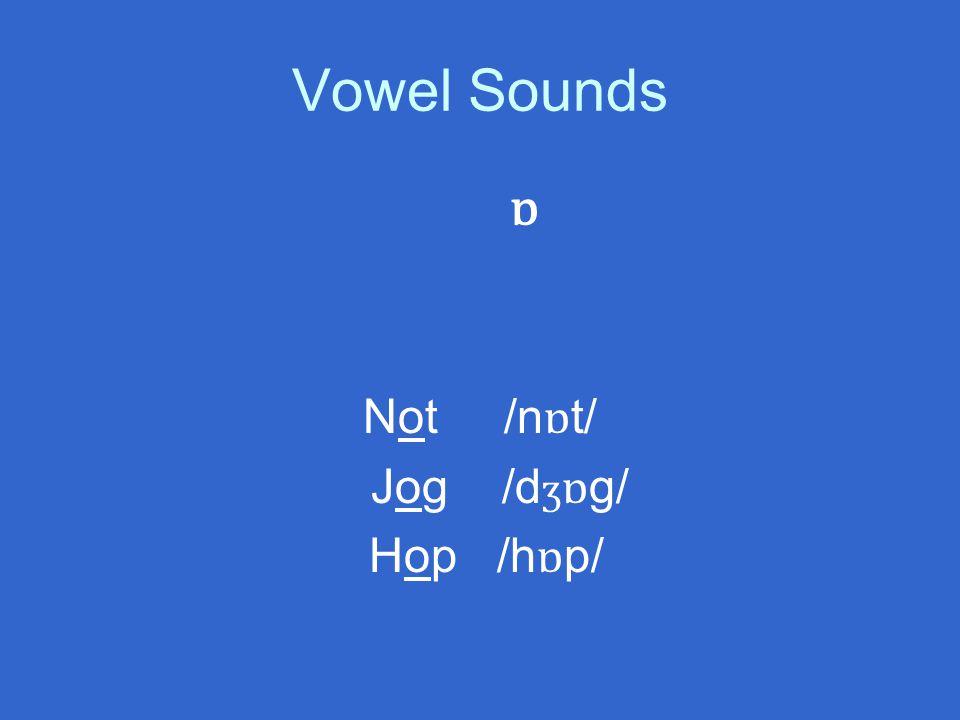 Vowel Sounds ɒ Not /n ɒ t/ Jog /d ʒ ɒ g/ Hop /h ɒ p/