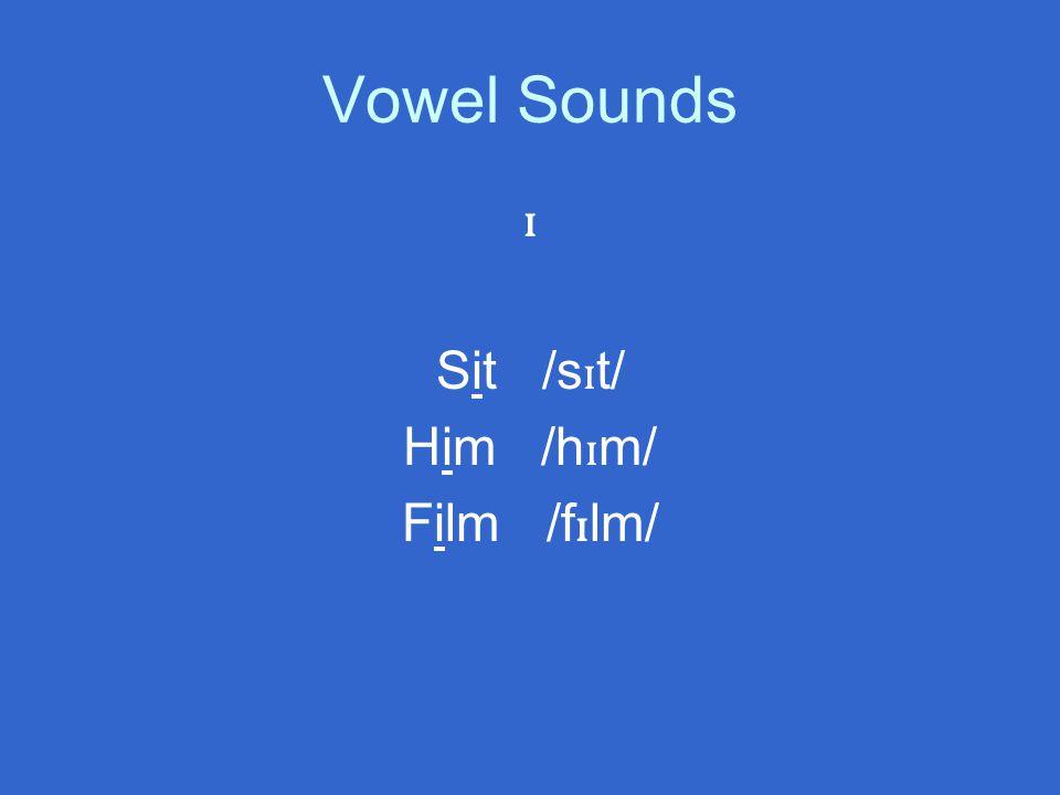 Vowel Sounds ɪ Sit /s ɪ t/ Him /h ɪ m/ Film /f ɪ lm/