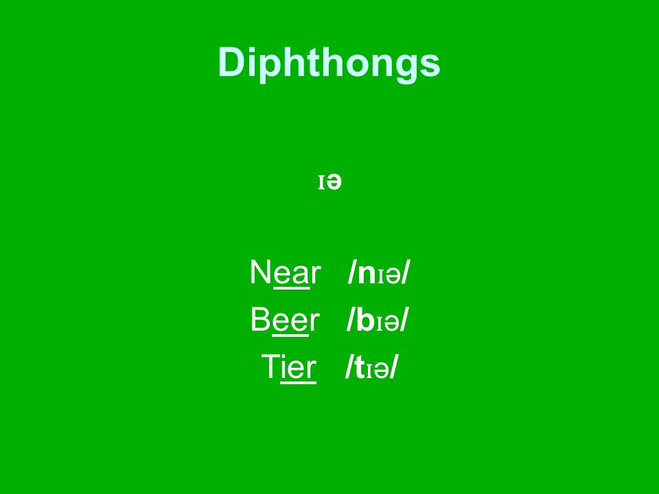 Diphthongs ɪ ə Near /n ɪ ə / Beer /b ɪ ə / Tier /t ɪ ə /