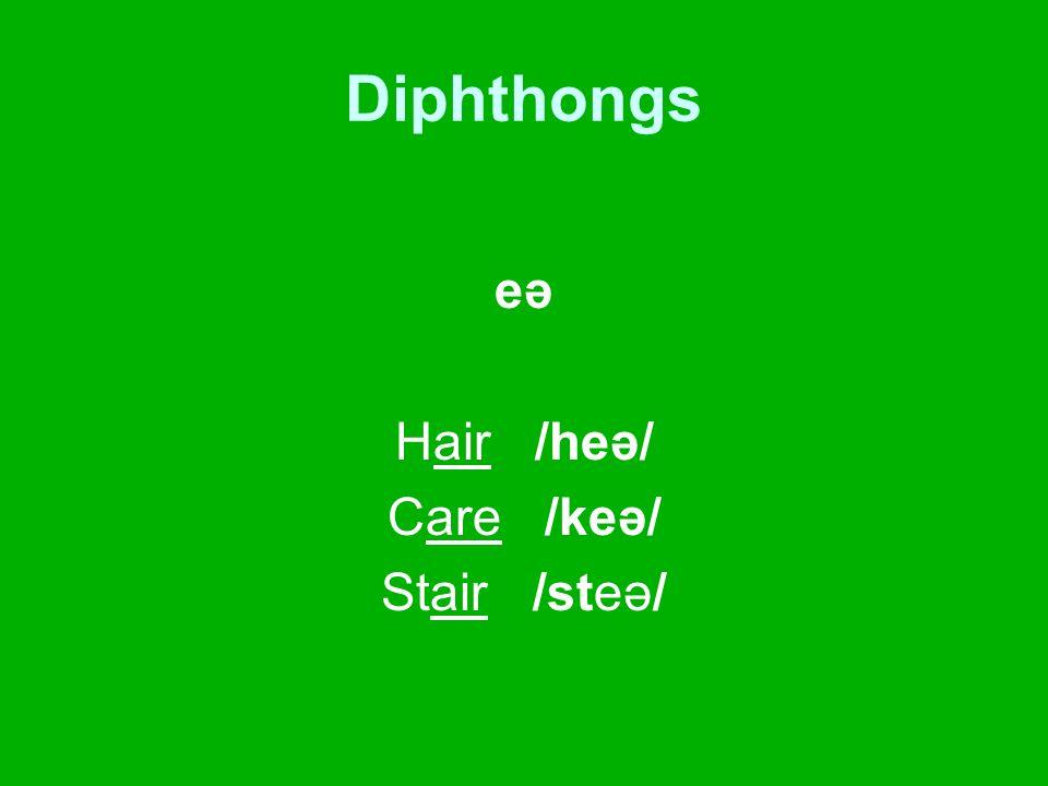Diphthongs eə Hair /heə/ Care /keə/ Stair /steə/