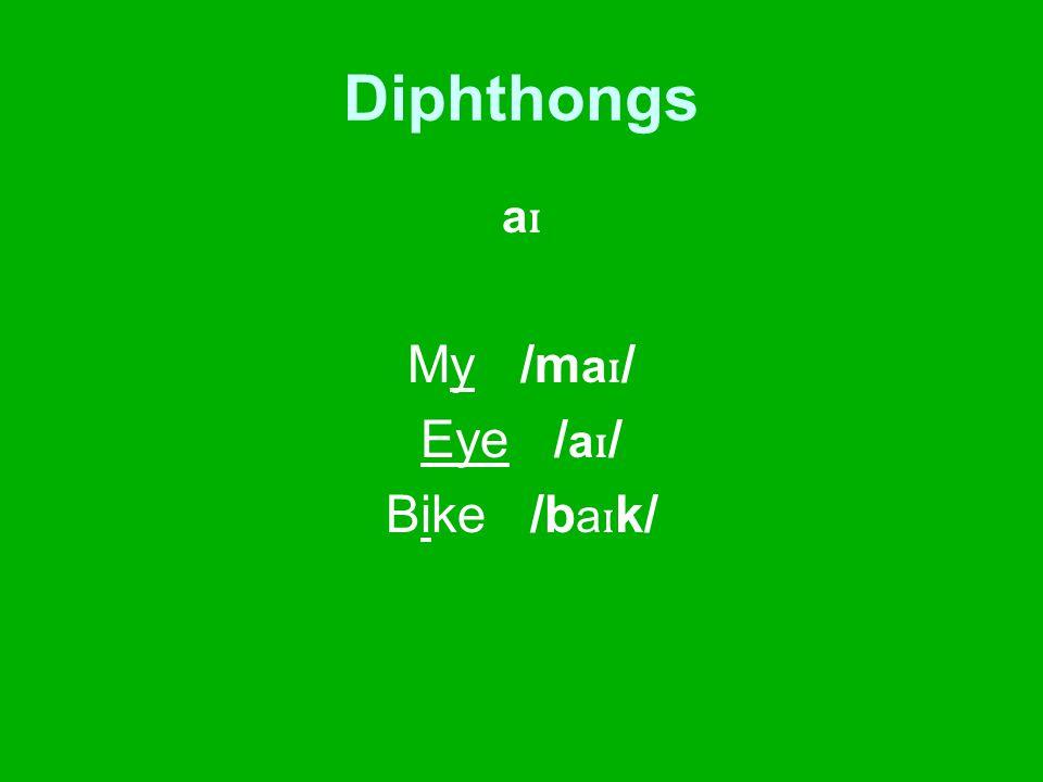 Diphthongs a ɪ My /m a ɪ / Eye / a ɪ / Bike /b a ɪ k/