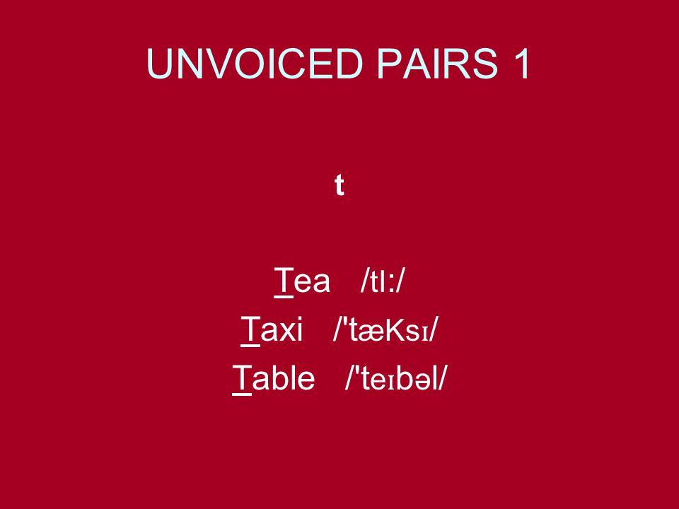 UNVOICED PAIRS 1 t Tea / tI :/ Taxi / t æKs ɪ / Table / t e ɪ b ə l/