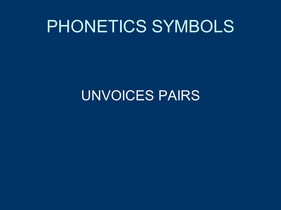 PHONETICS SYMBOLS UNVOICES PAIRS