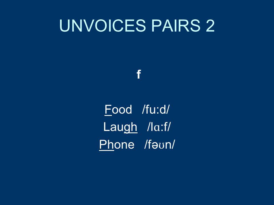 UNVOICES PAIRS 2 f Food /fu:d/ Laugh /l ɑ :f/ Phone /fə ʊ n/