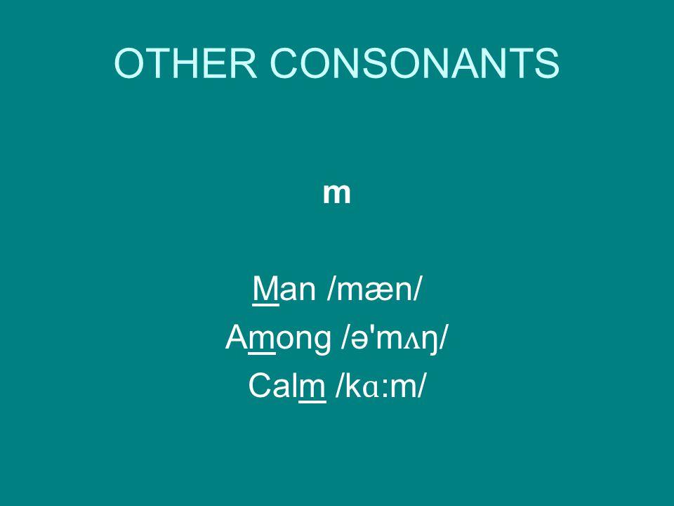 m Man /mæn/ Among /ə m ʌ ŋ/ Calm /k ɑ :m/