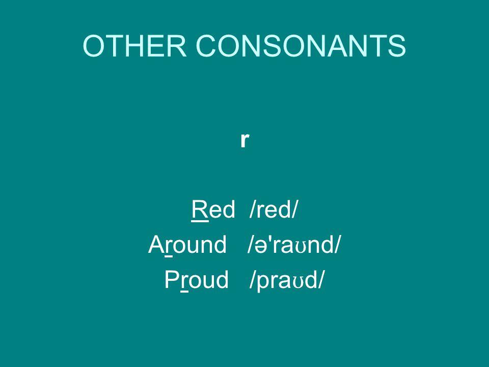 OTHER CONSONANTS r Red /red/ Around /ə ra ʊ nd/ Proud /pra ʊ d/