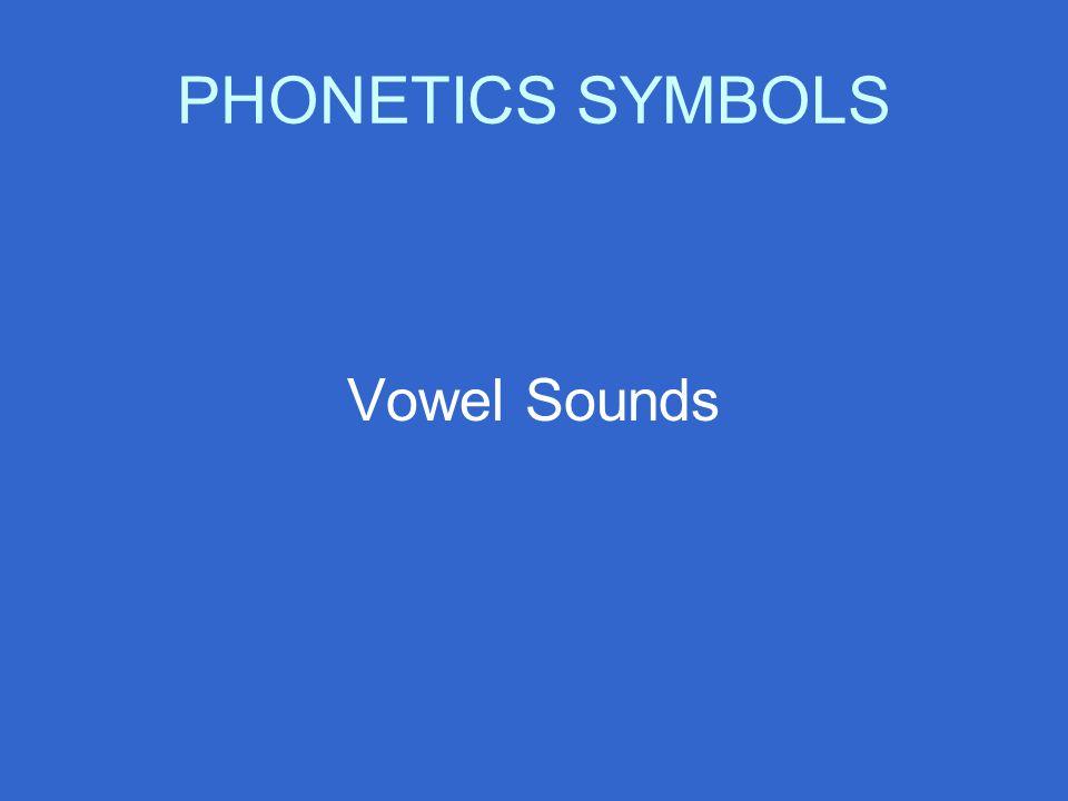 PHONETICS SYMBOLS Vowel Sounds