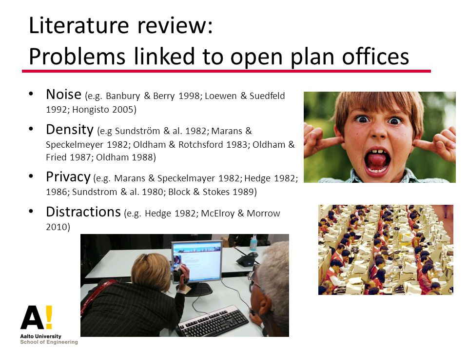 Literature review: Problems linked to open plan offices Noise (e.g.
