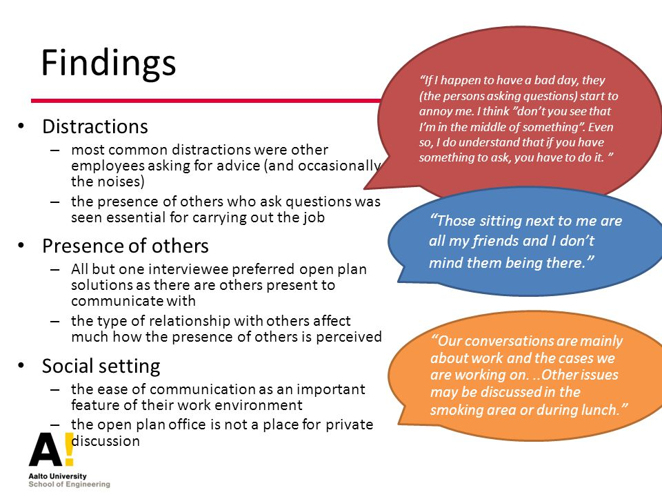 Findings Distractions – most common distractions were other employees asking for advice (and occasionally the noises) – the presence of others who ask questions was seen essential for carrying out the job Presence of others – All but one interviewee preferred open plan solutions as there are others present to communicate with – the type of relationship with others affect much how the presence of others is perceived Social setting – the ease of communication as an important feature of their work environment – the open plan office is not a place for private discussion If I happen to have a bad day, they (the persons asking questions) start to annoy me.