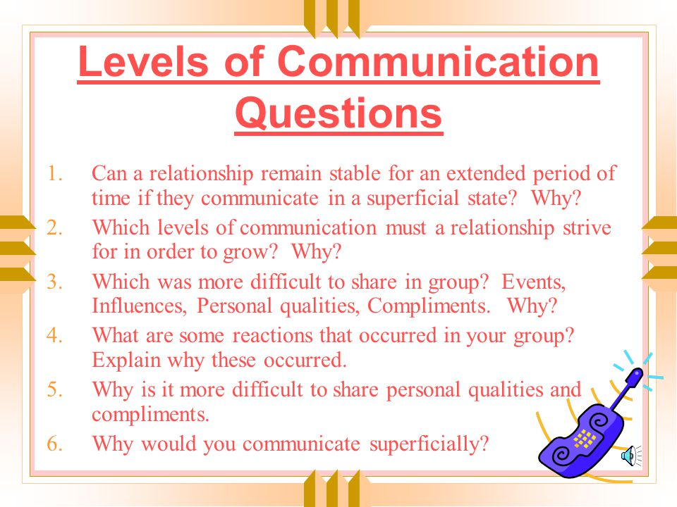 Levels of Communication Event Superficial Influence Personal Personal Quality Validating Compliment