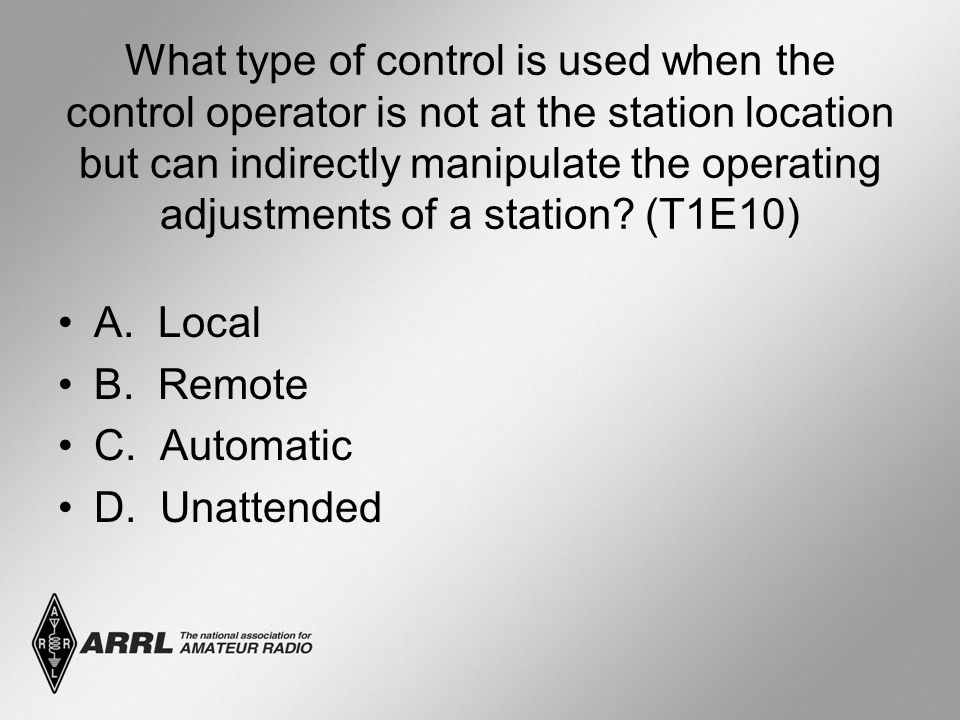 What type of control is used when the control operator is not at the station location but can indirectly manipulate the operating adjustments of a station.