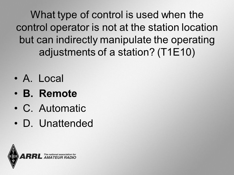What type of control is used when the control operator is not at the station location but can indirectly manipulate the operating adjustments of a sta