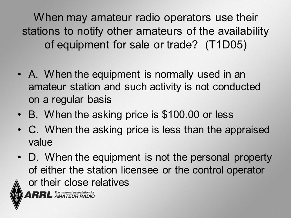 When may amateur radio operators use their stations to notify other amateurs of the availability of equipment for sale or trade.
