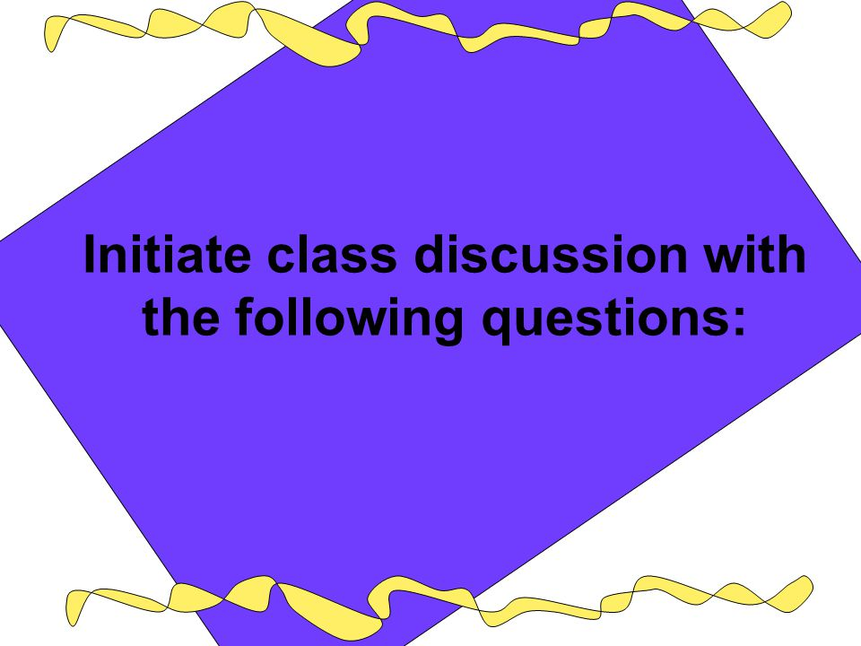 Initiate class discussion with the following questions: